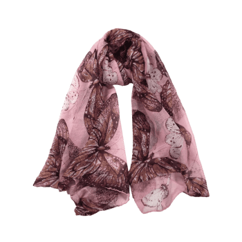 Butterfly Pattern Embellished Silky Long Scarf - PINK