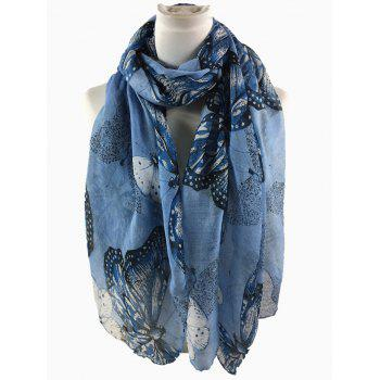 Butterfly Pattern Embellished Silky Long Scarf - DEEP BLUE