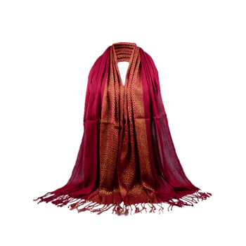 Vintage Reversible Two Colors Fringed Silky Scarf - CLARET