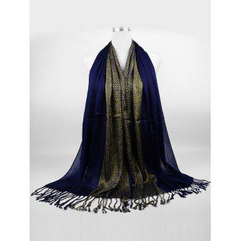 Vintage Reversible Two Colors Fringed Silky Scarf - CADETBLUE