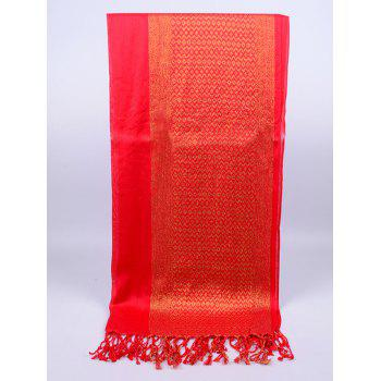 Vintage Reversible Two Colors Fringed Silky Scarf - BRIGHT RED