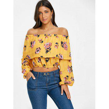 Floral Off The Shoulder Crop Top - YELLOW YELLOW