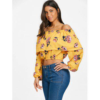 Floral Off The Shoulder Crop Top - YELLOW M