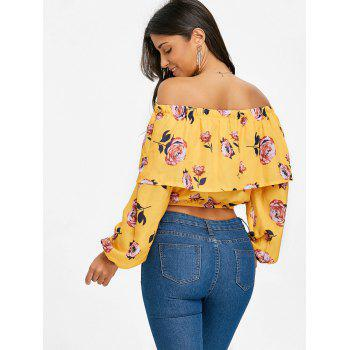 Floral Off The Shoulder Crop Top - YELLOW XL