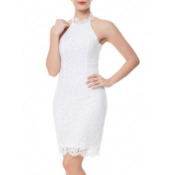 Sheath Back Slit Lace Dress - WHITE 2XL