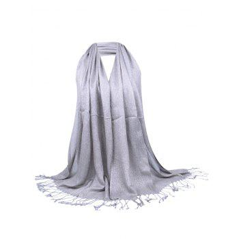 Vintage Fringed Silky Long Scarf - GRAY GRAY