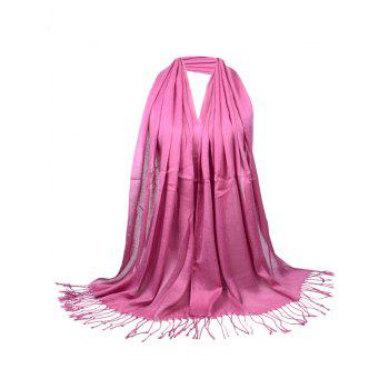 Vintage Fringed Silky Long Scarf - LEATHER PINK LEATHER PINK