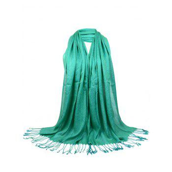 Vintage Fringed Silky Long Scarf - GREEN GREEN
