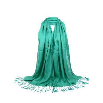 Vintage Fringed Silky Long Scarf - GREEN