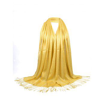 Vintage Fringed Silky Long Scarf - YELLOW YELLOW