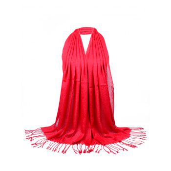 Vintage Fringed Silky Long Scarf - BRIGHT RED BRIGHT RED