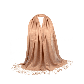 Vintage Fringed Silky Long Scarf - LIGHT COFFEE