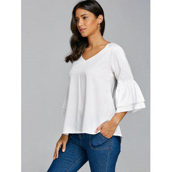 V Neck Bell Sleeve Blouse - WHITE S