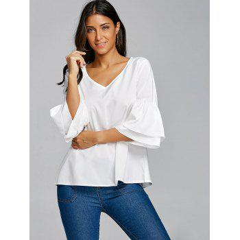 V Neck Bell Sleeve Blouse - WHITE M