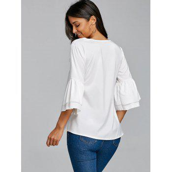 V Neck Bell Sleeve Blouse - WHITE L