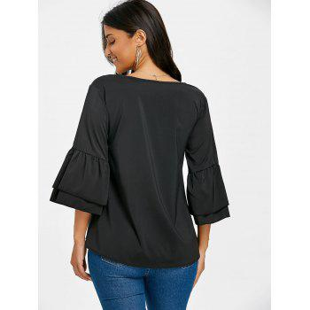 V Neck Bell Sleeve Blouse - BLACK XL