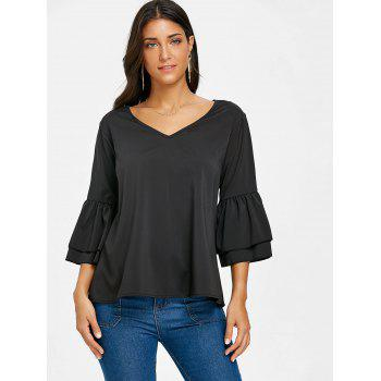 V Neck Bell Sleeve Blouse - BLACK L