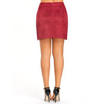 Buttoned Lace Insert Mini Bodycon Skirt - WINE RED S