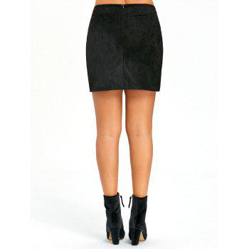 Buttoned Lace Insert Mini Bodycon Skirt - BLACK L