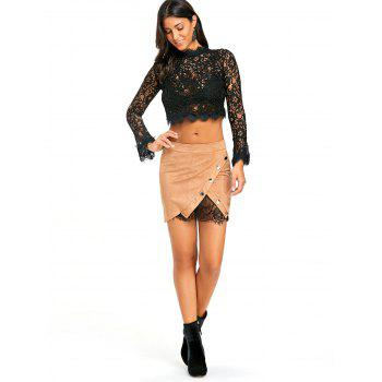 Buttoned Lace Insert Mini Bodycon Skirt - KHAKI KHAKI