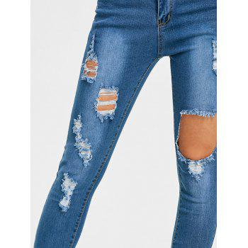 Ripped High Waisted Destroyed Jeans - BLUE M