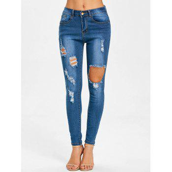 Ripped High Waisted Destroyed Jeans - BLUE S