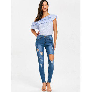 Ripped High Waisted Destroyed Jeans - BLUE L