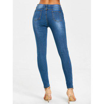 Ripped High Waisted Destroyed Jeans - BLUE BLUE