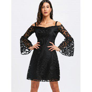 Bell Sleeve Cold Shoulder Lace Dress - BLACK L