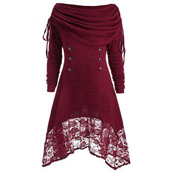 Button Embellished Floral Lace Asymmetrical Tee - WINE RED WINE RED