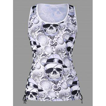 Skulls Lace Up Tank Top - WHITE/BLACK XL