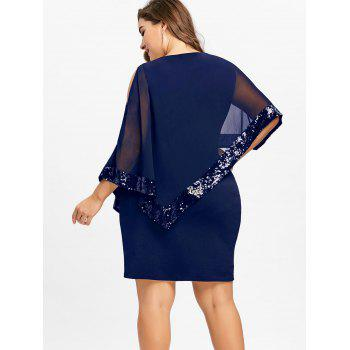 Plus Size Fitted Sequins Overlay Dress - BLUE XL