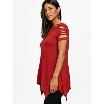 Lattice Front Shredding T-shirt - DEEP RED L