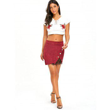 Buttoned Lace Insert Mini Bodycon Skirt - WINE RED L