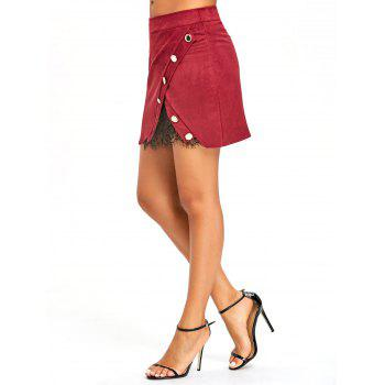 Buttoned Lace Insert Mini Bodycon Skirt - WINE RED M
