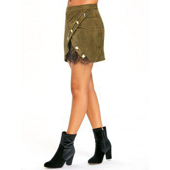Buttoned Lace Insert Mini Bodycon Skirt - ARMY GREEN L