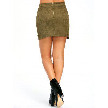 Buttoned Lace Insert Mini Bodycon Skirt - ARMY GREEN M
