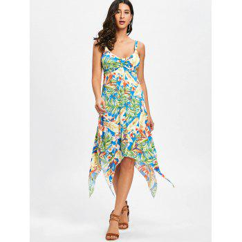Tropical Print Asymmetrical Midi Dress - LIGHT GREEN S