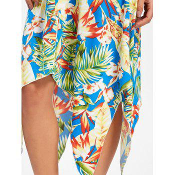 Tropical Print Asymmetrical Midi Dress - LIGHT GREEN M