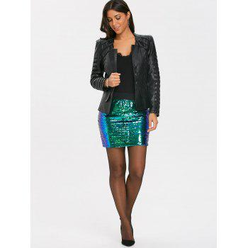 Ombre Sequins Zip Up Mini Skirt - GREEN XL