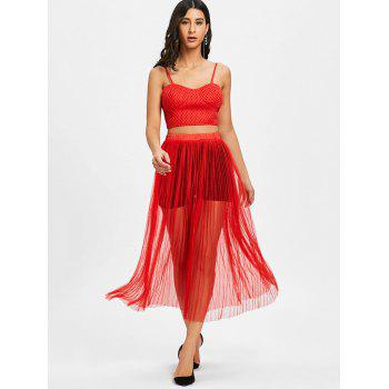 Crop Top With Mesh High Waisted Skirt - RED S