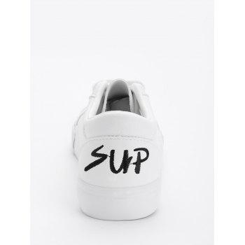Letter Embroidery PU Leather Skate Shoes - BLACK 40