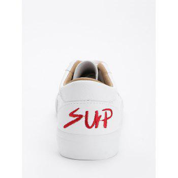 Letter Embroidery PU Leather Skate Shoes - RED 40