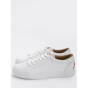 Letter Embroidery PU Leather Skate Shoes - RED 37
