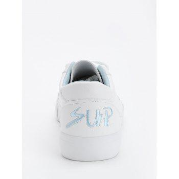 Letter Embroidery PU Leather Skate Shoes - BLUE 39