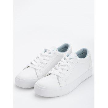 Letter Embroidery PU Leather Skate Shoes - BLUE 40