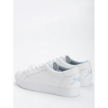 Letter Embroidery PU Leather Skate Shoes - BLUE 35