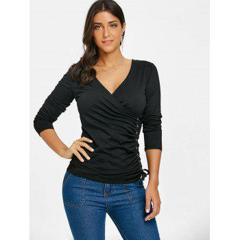 Plunging Neck Side Lace Up Top - BLACK M