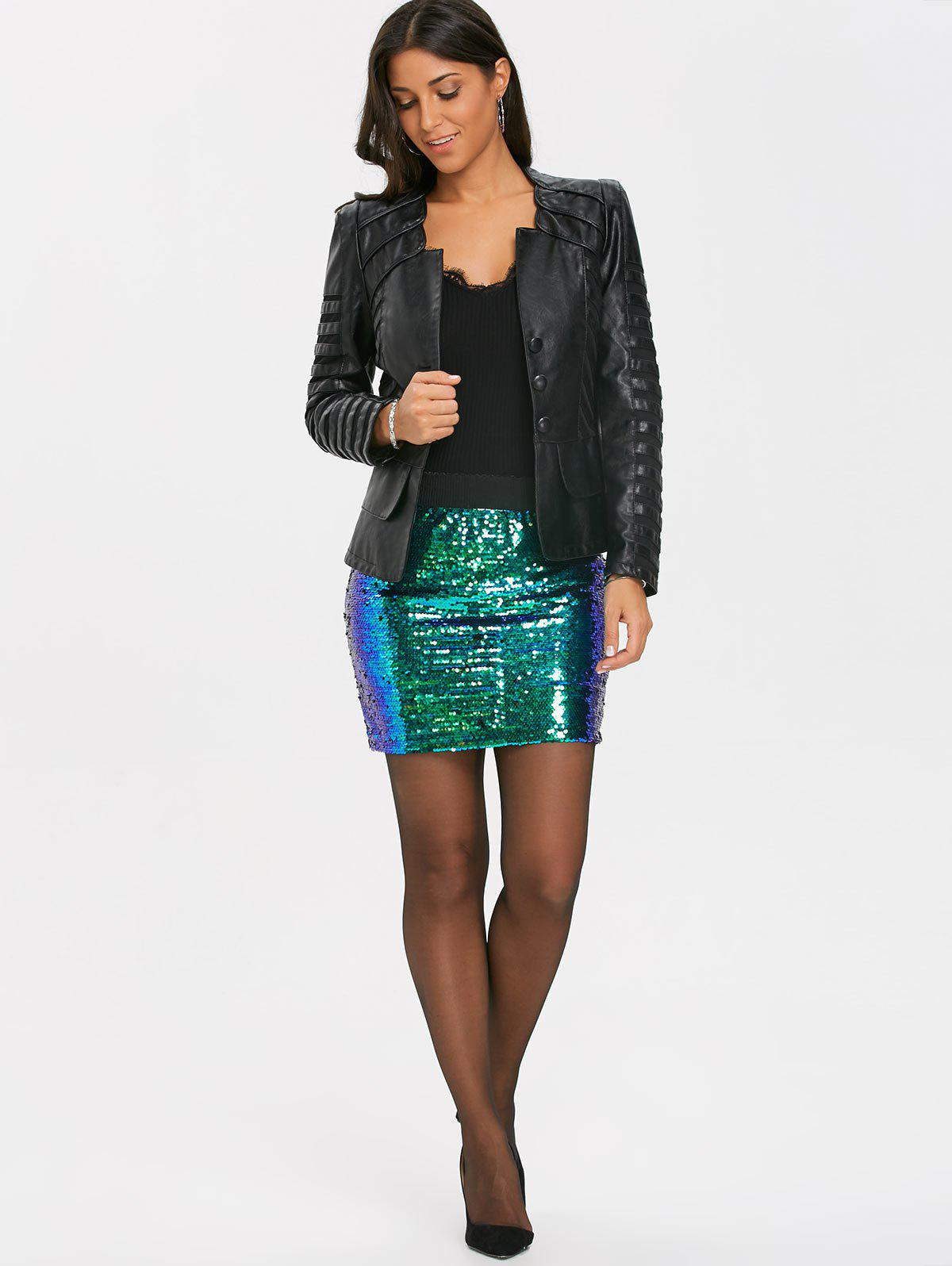 Ombre Sequins Zip Up Mini Skirt - GREEN S