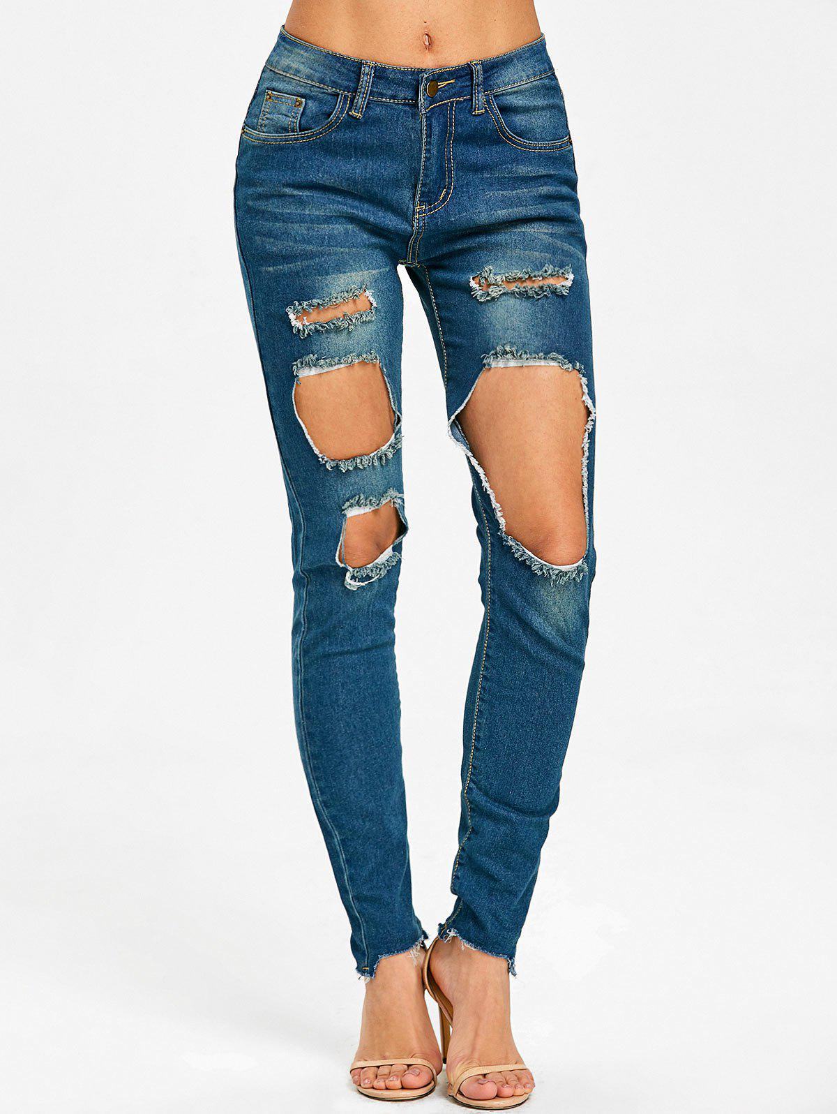 Skinny Frayed Destroyed Jeans - BLUE XL